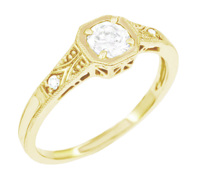 Yellow Gold Vintage Art Deco Filigree White Sapphire Engagement Ring Low Profile Half Carat Antique Jewelry Mall
