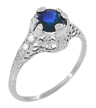 Edwardian Filigree Sapphire and Diamond Ring in Platinum