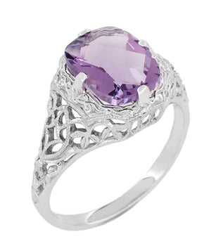 Art Deco Flowers and Leaves Cushion Cut Lilac Amethyst Filigree Ring in 14 Karat White Gold
