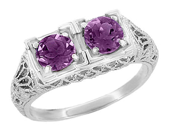 Art Deco Amethyst Duo Filigree Ring in 14 Karat White Gold