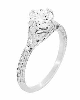 Art Deco Flowers 1/2 Carat Filigree Antique Engagement Ring Setting Design for a 5mm Round Stone in 14K or 18K White Gold