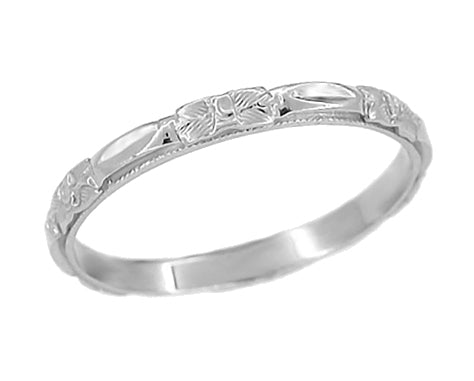 Antique Art Deco Sculpted Roses Wedding Band - 14K White Gold - R372
