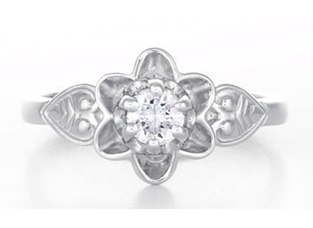 Flowers & Leaves Victorian 1/4 Carat Diamond Engagement Ring in White Gold