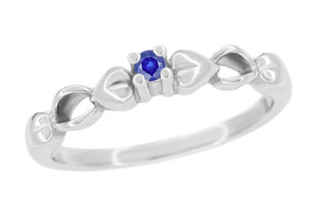 1950's Retro Moderne Hearts Blue Sapphire Promise Ring in White Gold - 10K or 14K