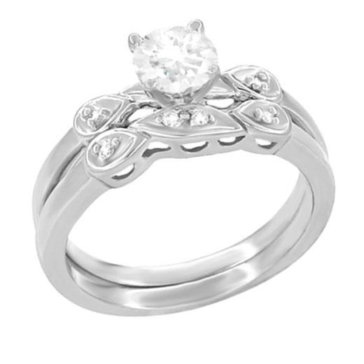 1950's Retro Moderne 1/4 Carat Diamond Engagement Ring and Wedding Band Bridal Set in Platinum - Item: R380PS - Image: 1