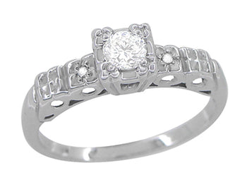 Art Deco 1/4 Carat Diamond Pansy Flowers Fishtail Engagement Ring in 14 Karat White Gold