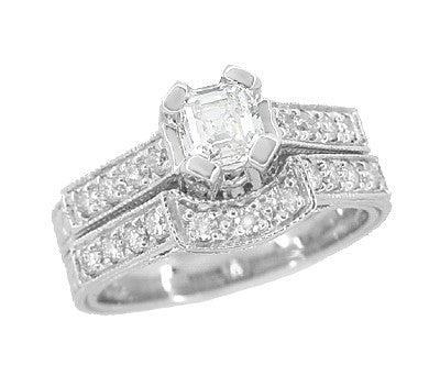 R396AS - asscher engagement and wedding band bridal set
