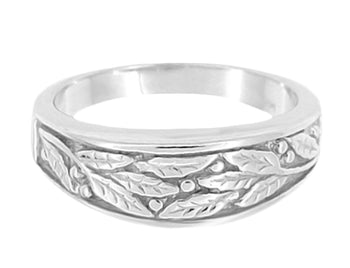 Mid Century Modern Carved Olive Leaves Mens Tapered Ring in 14K White Gold - 6.8mm Wide