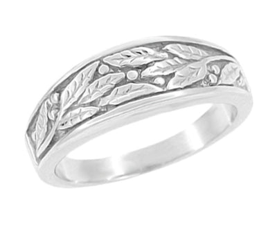 1960's Olive Leaves Tapered Womens Wedding Ring in 14 Karat White Gold