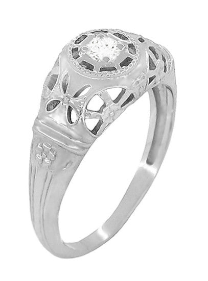 Platinum Art Deco Filigree Diamond Engagement Ring - Item: R428P - Image: 1