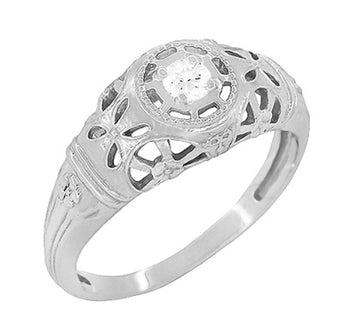 Art Deco Open Flowers Filigree Diamond Engagement Ring in 14 Karat White Gold | Low Profile Dome