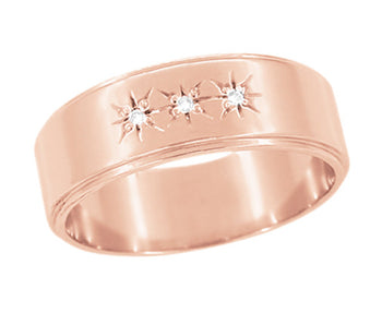Vintage 1950's Style Rose Gold Three Diamond Starburst Wedding Band - 6mm