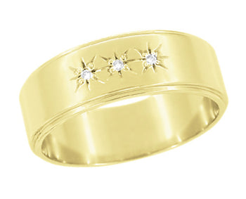 1950's Vintage Style Three Diamond Starburst Wedding Band in 14 Karat Yellow Gold - 6mm