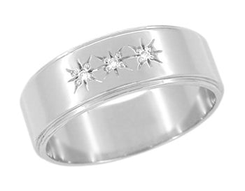 1950's Starburst Three Diamond Wedding Band in 14 Karat White Gold - 6mm Wide