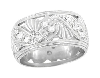 Retro Moderne Filigree Diamond Wide Wedding Ring in 14 Karat White Gold