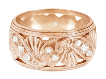 Retro Moderne Filigree Diamond Wide Wedding Ring in 14 Karat Rose Gold