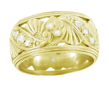 Retro Moderne Filigree Fan Scrolls Wide Diamond Wedding Ring in 14 Karat Yellow Gold