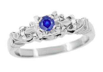 Retro Moderne Starburst Blue Sapphire Engagement Ring in 14 Karat White Gold