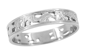 Art Deco Filigree Scrolls and Flowers Wedding Band in 14 Karat White Gold - Size 7.25