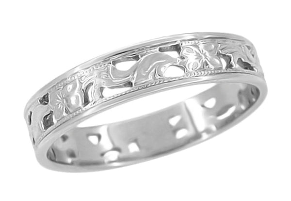 4mm 1920s Art Deco Filigree Scrolls & Flowers Platinum Antique Wedding Band