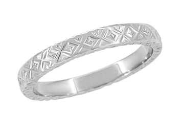 1950's Geometric Modernist Wedding Band in 14 Karat White Gold