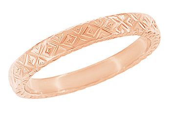 Rose Gold 1950's Mid Century Modernist Geometric Carved Vintage Reissue Wedding Band