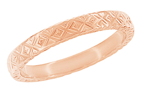 Rose Gold 1950s Post Modernist Geometric Engraved Vintage Wedding Band