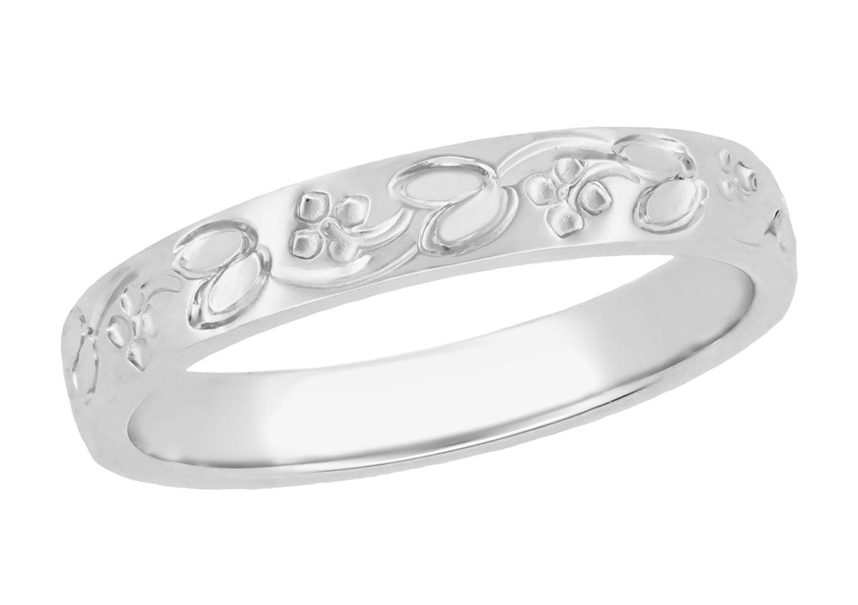Art Deco Flowers And Leaves Engraved Wedding Ring In Platinum