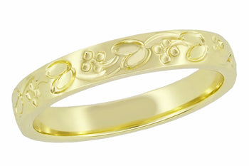 Art Deco Flowers and Leaves Carved Wedding Ring in Yellow Gold - 18K or 14K