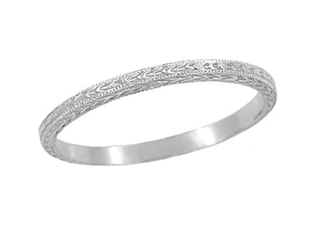 Art Deco Hand Engraved Very Thin Wheat Wedding Band in 14 Karat White Gold