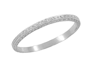 Art Deco Hand Carved Very Thin Wheat Wedding Band in Platinum