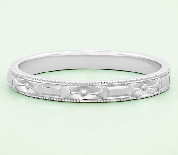 Art Deco Flowers and Bars Wedding Ring in White Gold - Item: R638 - Image: 1