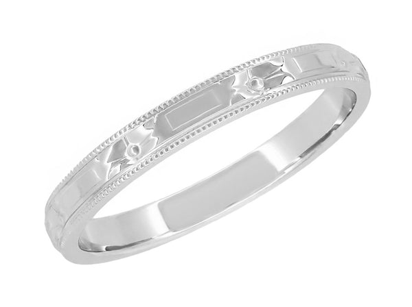 Art Deco Floral Embossed Vintage Wedding Band in White Gold - Hand Carved - R638