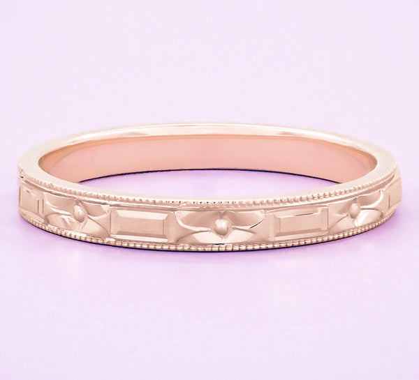 Art Deco 1920's Style 14 Karat Rose Gold Flowers and Bars Wedding Band - Item: R638R - Image: 4