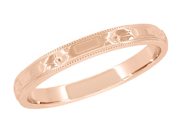 Rose Gold Carved Antique Wedding Band 2.5mm Art Deco Flowers and Bars R638R
