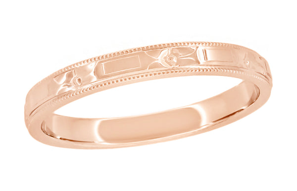 Art Deco Embossed Antique Rose Gold Wedding Ring 2.5mm Wide R638R