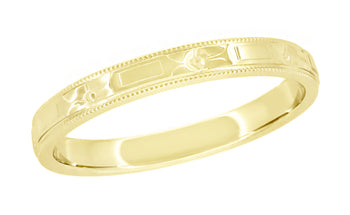 Art Deco Yellow Gold Carved Flowers and Bars Wedding Band