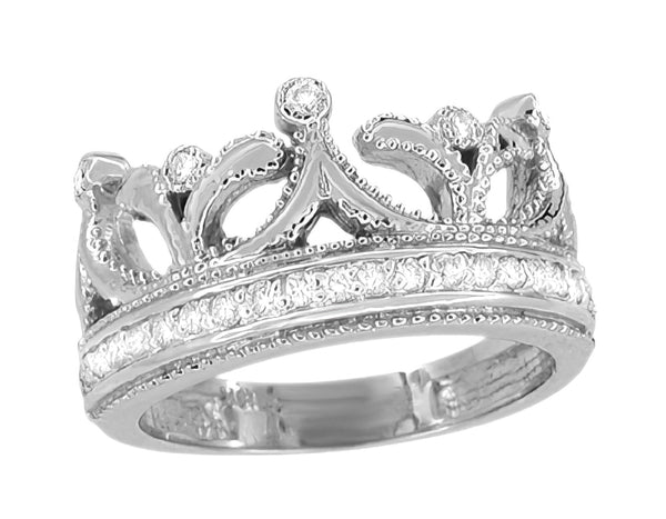 Ashton Royal Crown Ring in White Gold with Diamonds - 14K or 18K