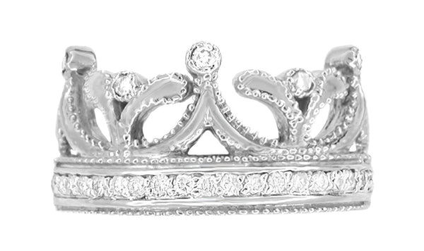 Ashton Royal Crown Ring in White Gold with Diamonds - 14K or 18K - Item: R644W14 - Image: 1