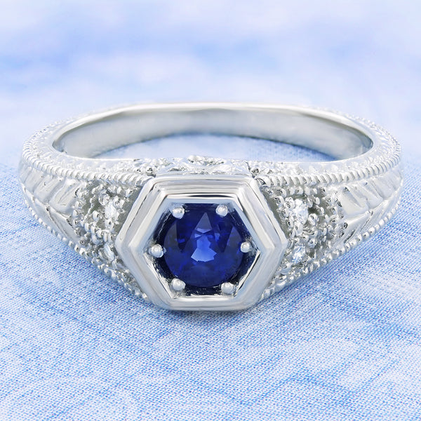 Art Deco Filigree Sapphire and Diamond Engagement Ring in 14 Karat White Gold | Antique Inspired Low Profile Ring - Item: R646W14S - Image: 4