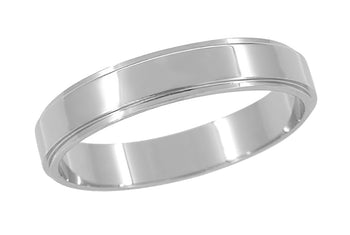 Grooved Edge Retro Wedding Band in 14 Karat White Gold - 4mm