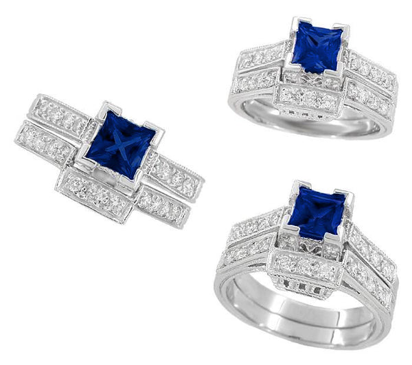 Art Deco 1/2 Carat Square Princess Cut Sapphire and Diamond Engagement Ring in 18 Karat White Gold - Item: R661S - Image: 4