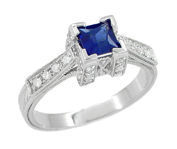 Art Deco 1/2 Carat Square Princess Cut Sapphire and Diamond Engagement Ring in 18 Karat White Gold
