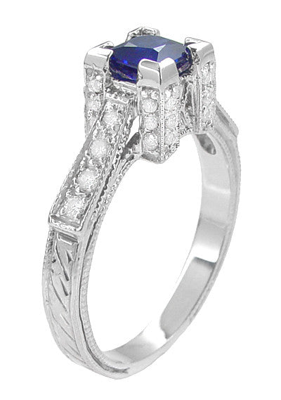Art Deco 1 2 Ct Square Sapphire Amp Side Diamond Engagement