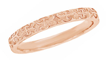 1950's Love Anchor and Cross Wedding Band in 14 Karat Rose Gold - 3mm Wide