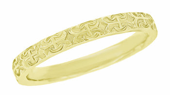 Love Anchor and Cross Wedding Band in 14 Karat Yellow Gold for a Man - 3mm