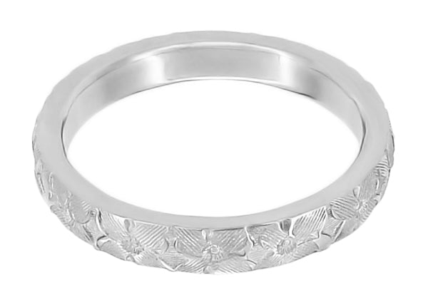 Hibiscus Flowers Engraved Wedding Ring in White Gold - 3mm Wide - Item: R668 - Image: 1