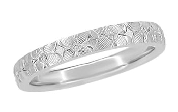 Hibiscus Flowers Engraved Wedding Ring in White Gold - 3mm Wide