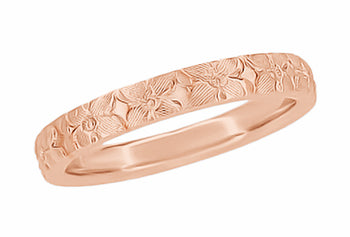 Hawaiian Hibiscus Flowers Engraved Wedding Band in 14 Karat Rose Gold