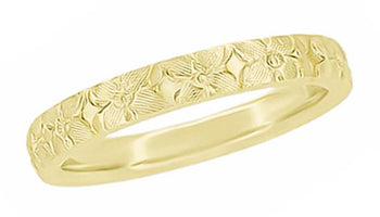 Yellow Gold Hawaiian Hibiscus Flowers Heirloom Carved Wedding Ring - 3mm Wide